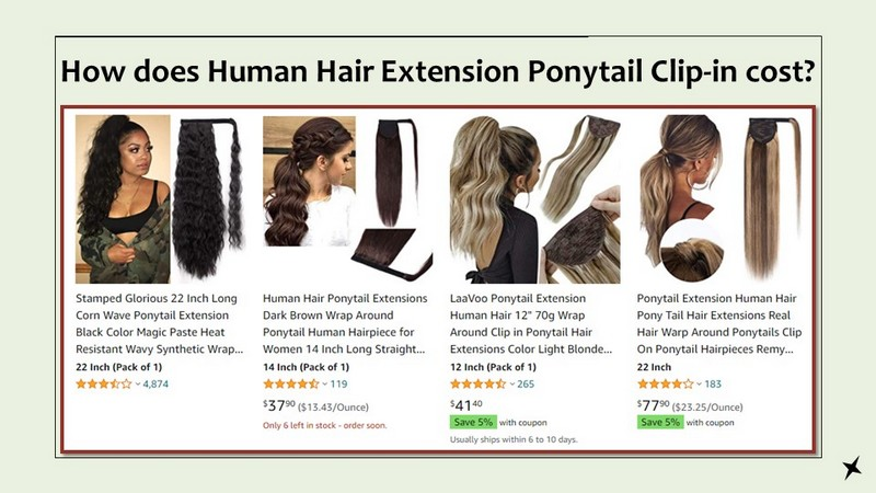 How does Human Hair Extension Ponytail Clip-in cost?
